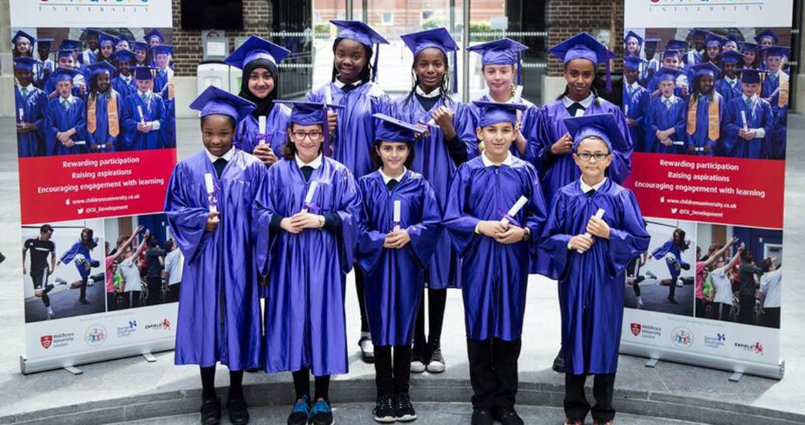 Children at graduation ceremony