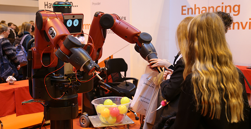 Robots interacting with students at Middlesex University