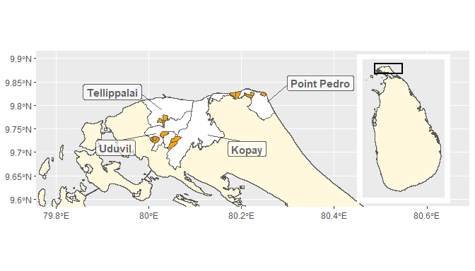 A map of Turkey showing the research site of Point Pedro, Tellippalai, Uduvil and Kopay