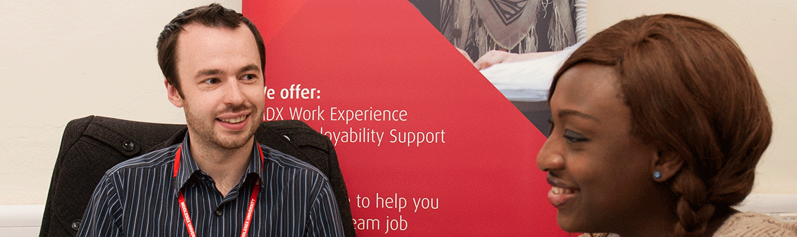 A Psychology student discusses a workplacement with an Employability Advisor
