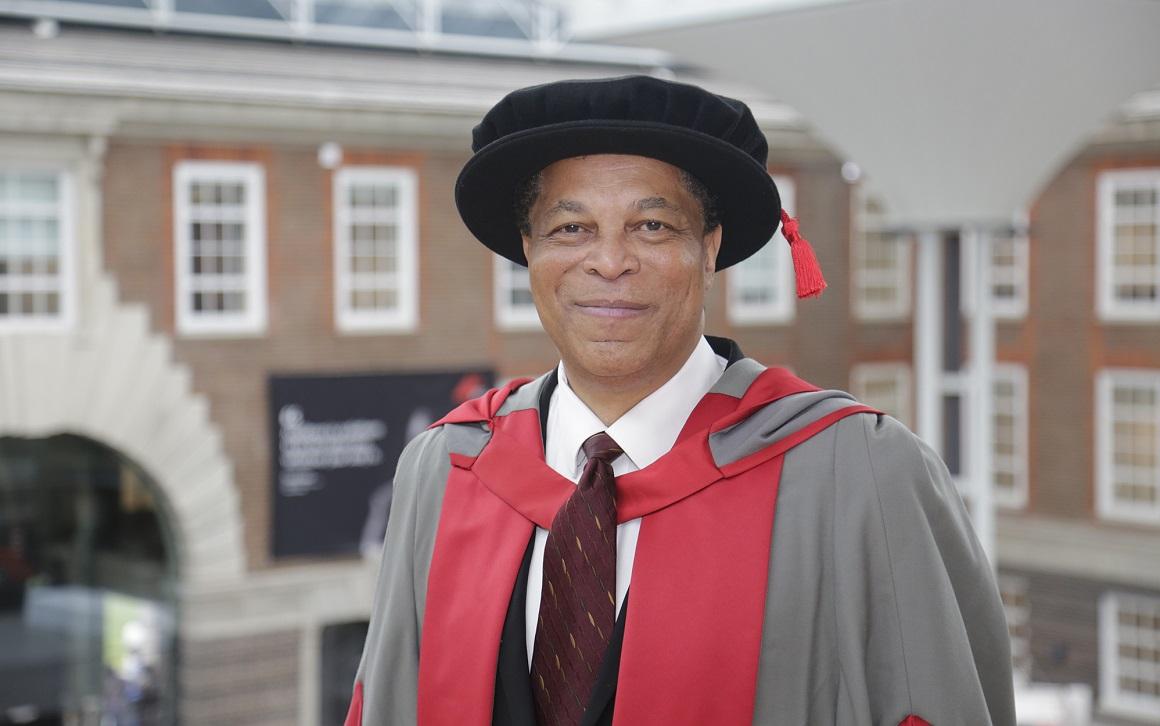 Frank Douglas at graduation ceremony