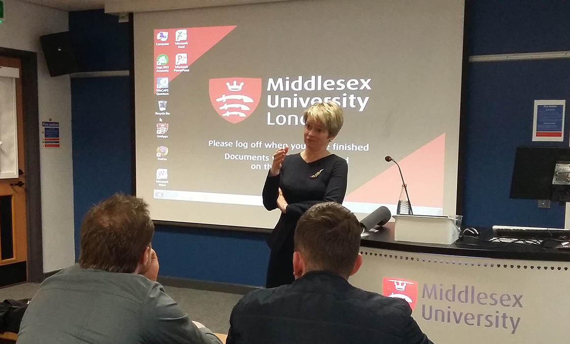 Dido Harding speaking at Middlesex University