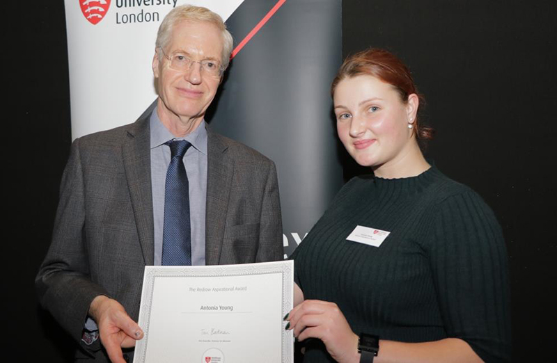 Pictured is Antonia Young with Middlesex University Vice-Chancellor Tim Blackman