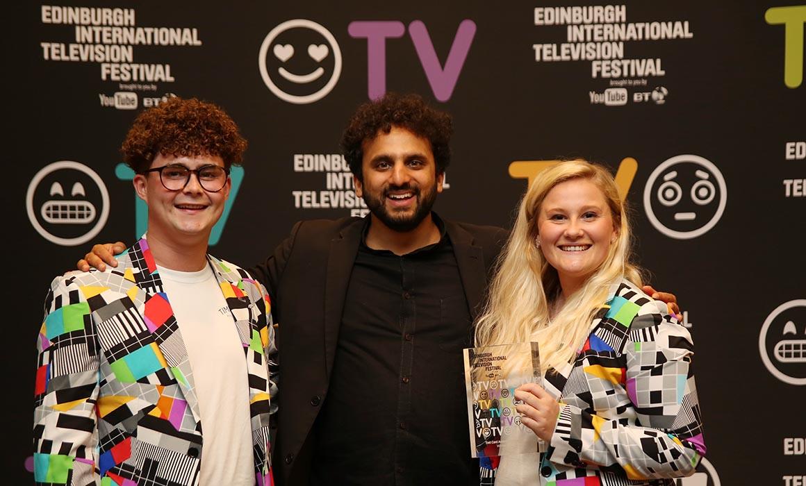 Joshua Goode and Madelen Nygaard receiving their award at the Edinburgh International Television Festival