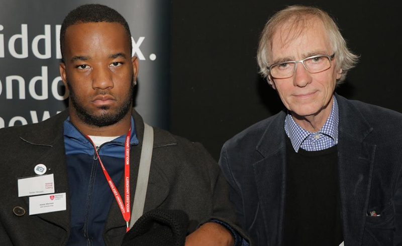 Dexter McLean with photography programme leader Michael Bradley.