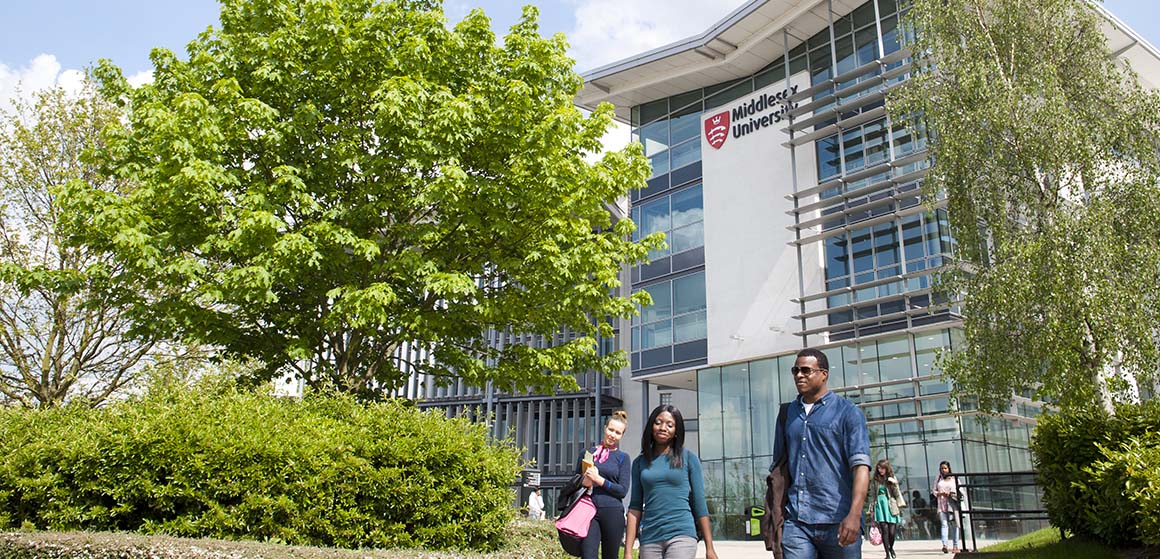 Middlesex students walking at the London campus