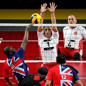 The Great Britain sitting volleyball team in action at the Invictus Games