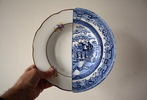 A plate which belends willow patterns with a more common Western design