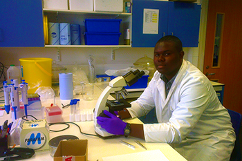 BSc Biosciences student Nathaniel Legall working in the laboratory