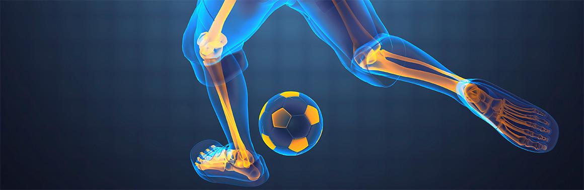 A digital x-ray of a footballer kicking a ball