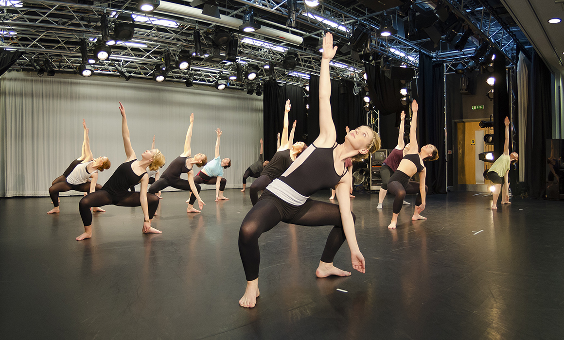 Dance students rehearsing in studio at Middlesex