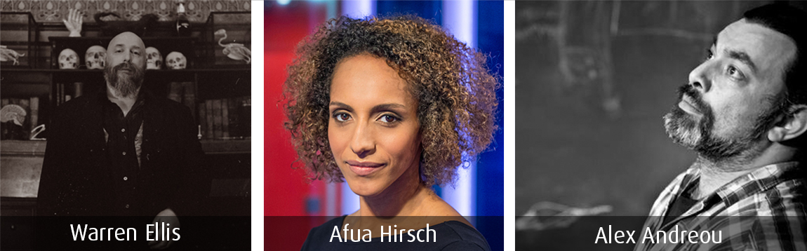 Warren Ellis, Afua Hirsch and Alex Andreou - the headliners from the NLLF 2017