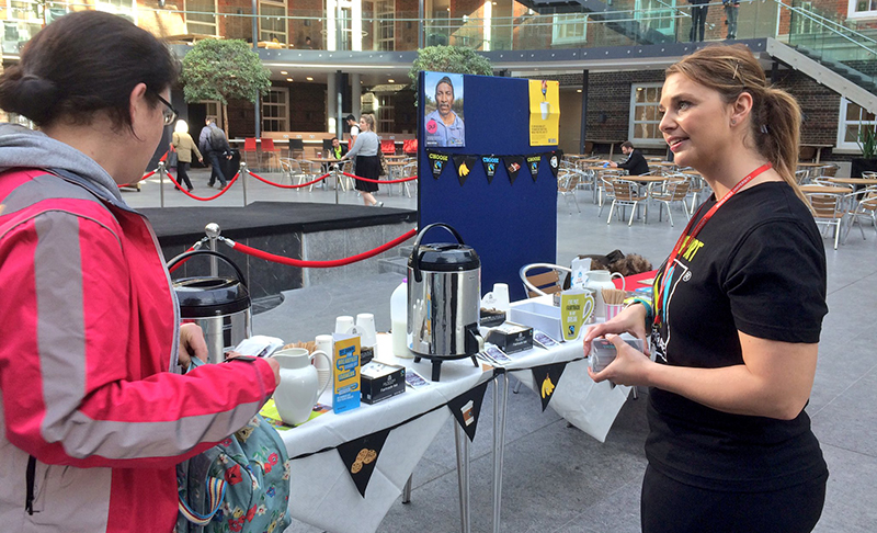 Fairtrade coffee stand at Middlesex University