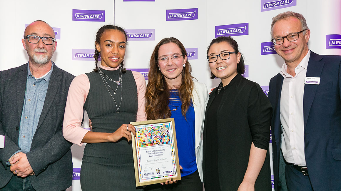 Television production students receiving their award from Jewish Care