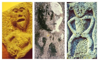 Three Sheela-na-gig stone carvings