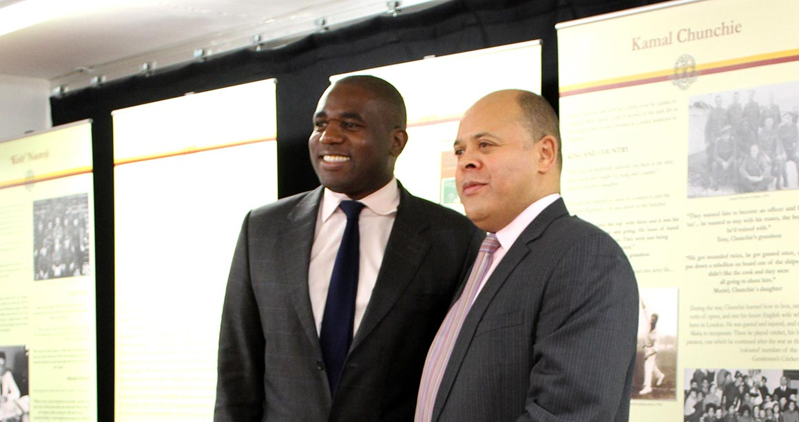 Prof Kurt Barling and David Lammy MP at the Hidden Heroes exhibition at Gladesmore Community School
