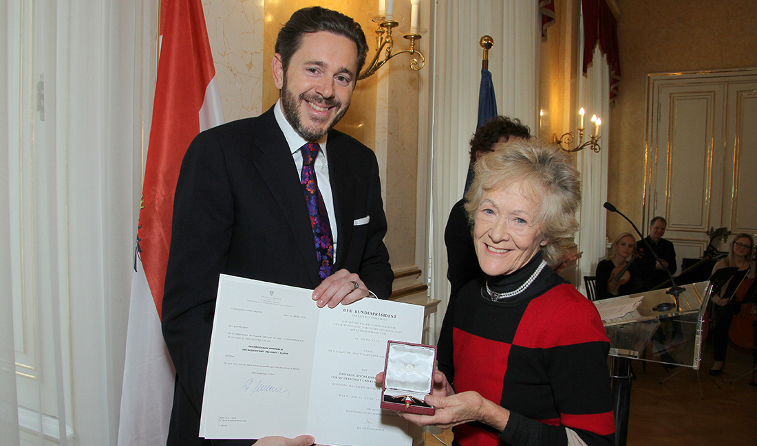 Dame Janet Ritterman receiving the Austrian Cross