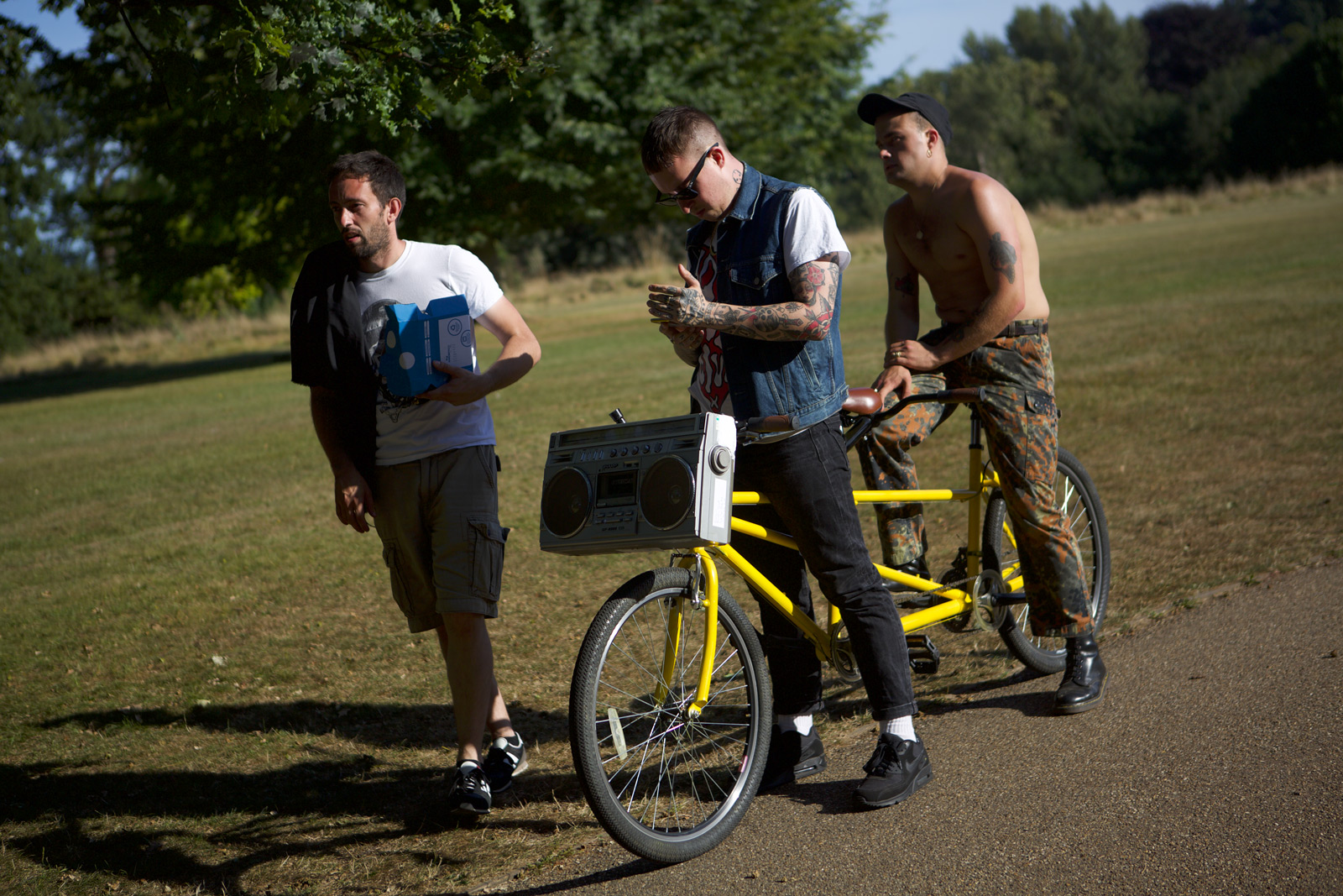Phil Poole filming with slaves
