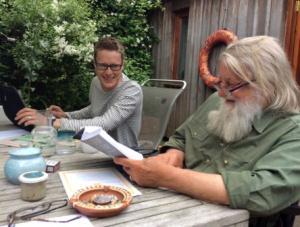 Marcus O'Dair chatting to Robert Wyatt