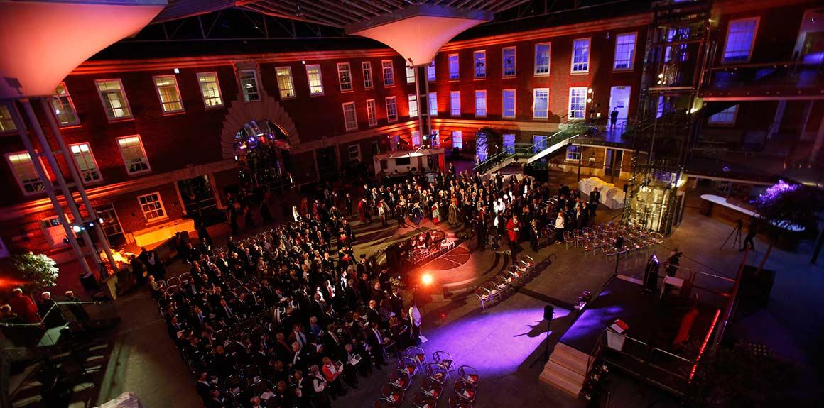 The Rickett Quadrangle illuminated during Vice-Chancellor Professor Tim Blackman's inauguration ceremony
