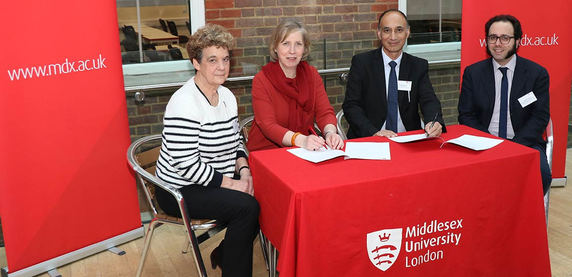 The David Caminer Studentship is signed at Middlesex University
