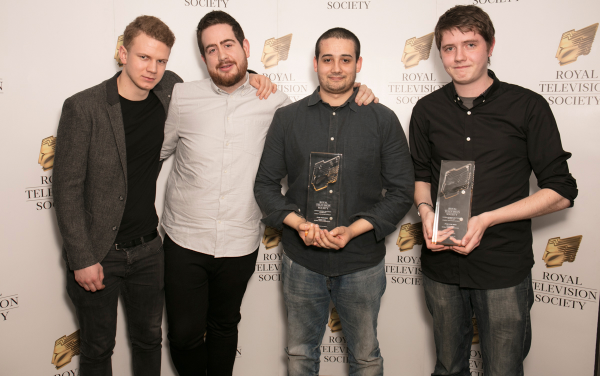 Middlesex students with their awards at the Royal Television Students award