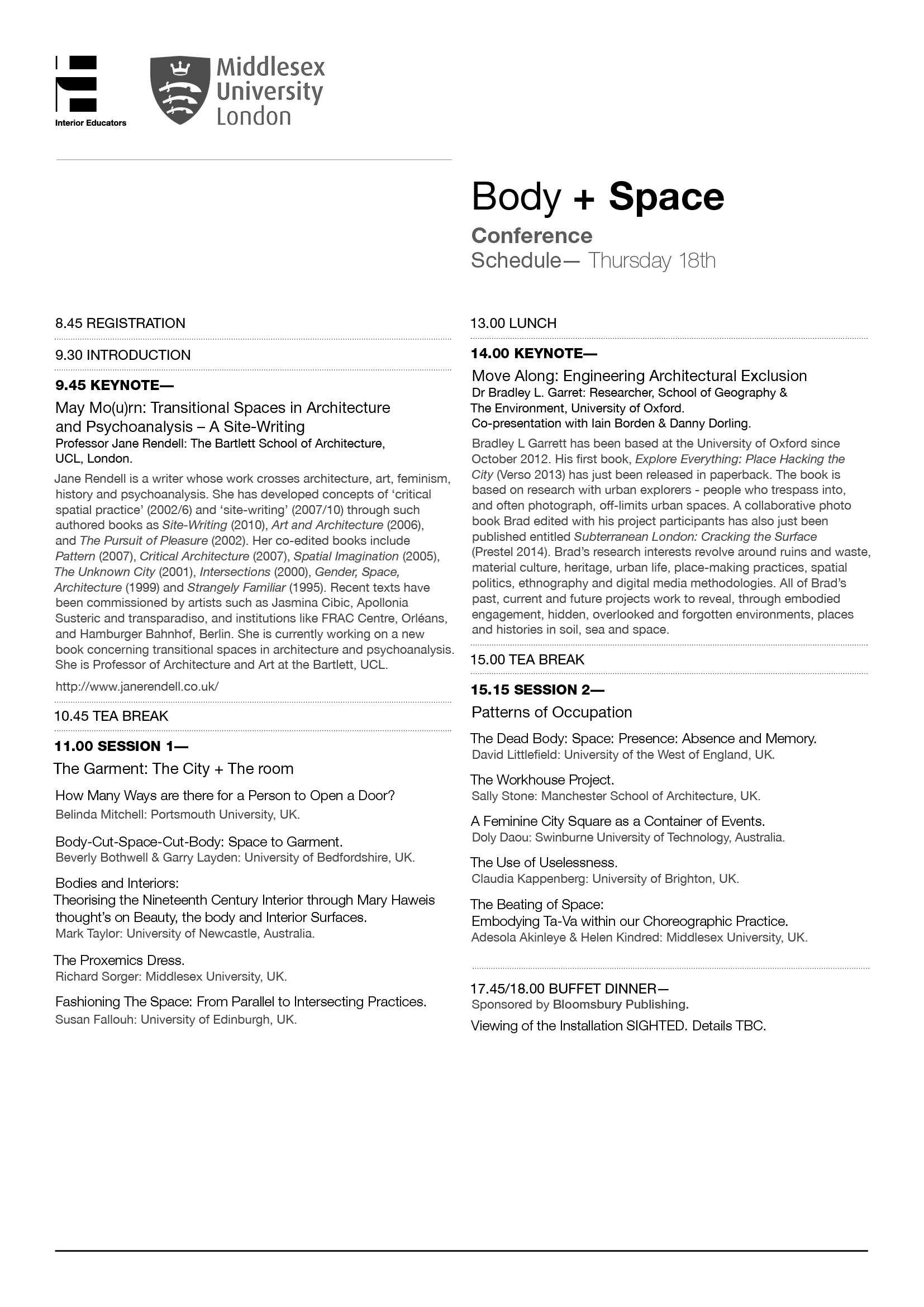 Body + Space Event - Thursday Schedule