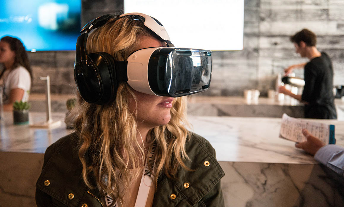 Girl using virtual reality headset