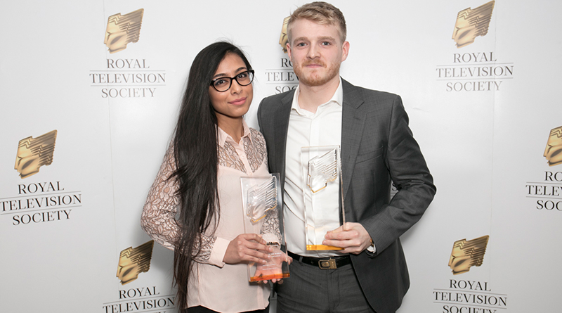Middlesex University students win an award at the Royal Television student award