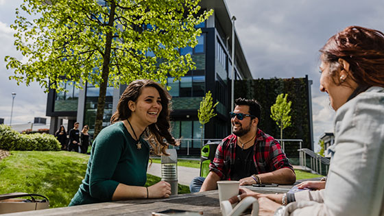 Students on campus at Middlesex University
