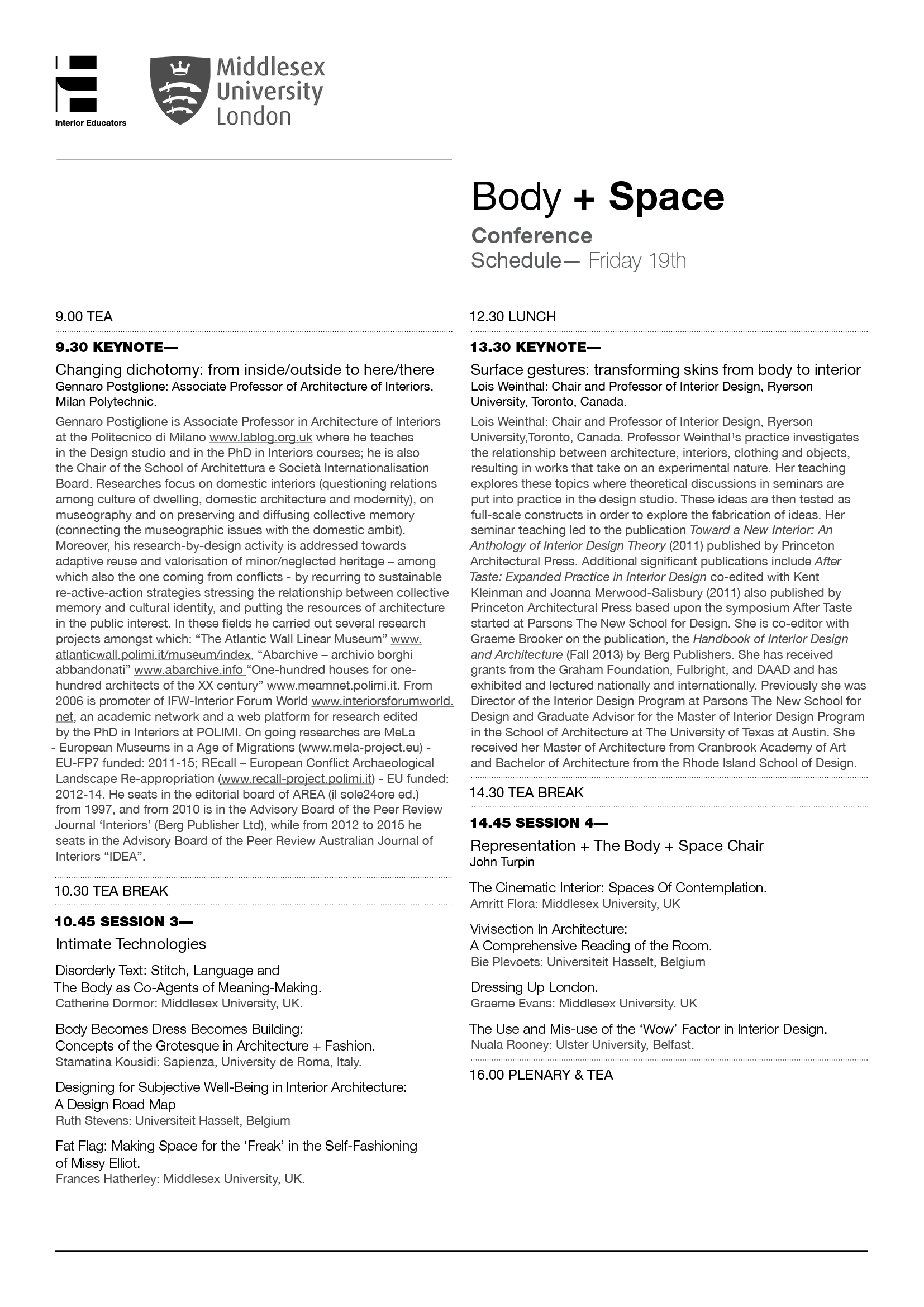 Body + Space Event - Friday Schedule