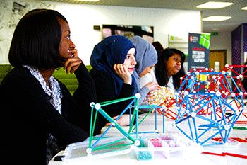 BSc Mathematics students watch as George Hart hosts a sculpture workshop