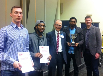 Three Middlesex University students are presented with their awards after winning the iMechE Greater London Regional heat of the Design Challenge