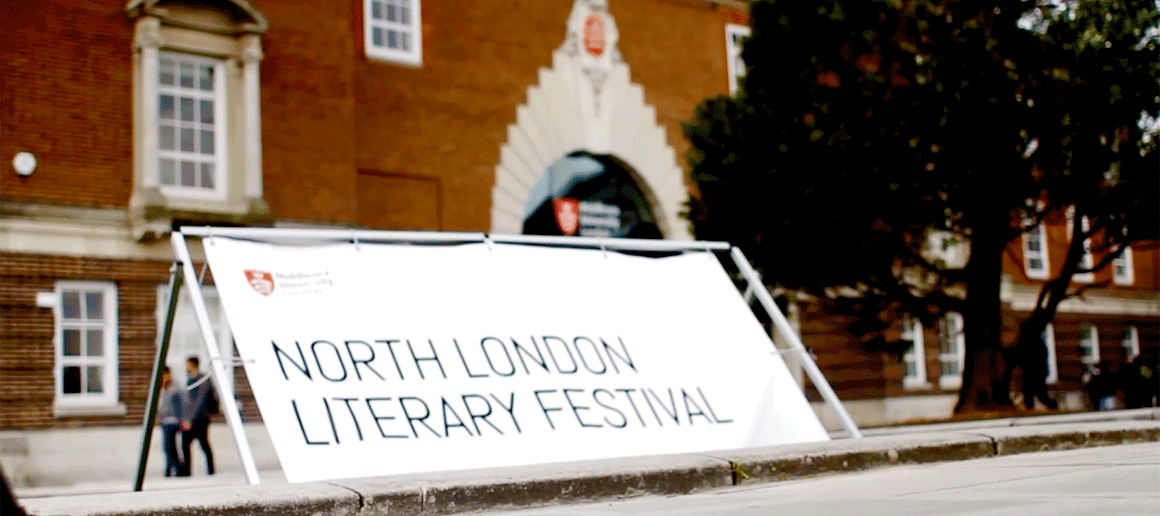 A banner outside the North London Lit Fest
