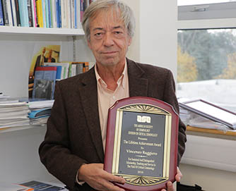 American Society of Criminology awards Prof Vincenzo Ruggiero for lifetime achievement