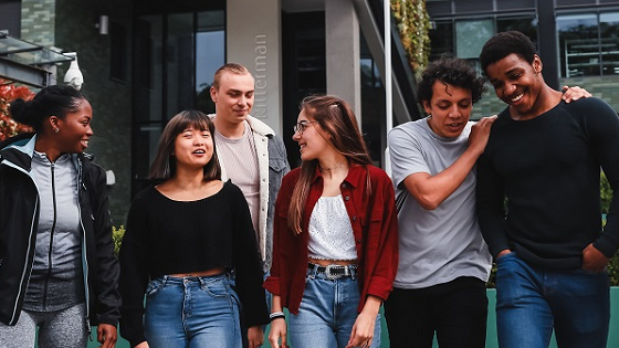 A laughing group of students