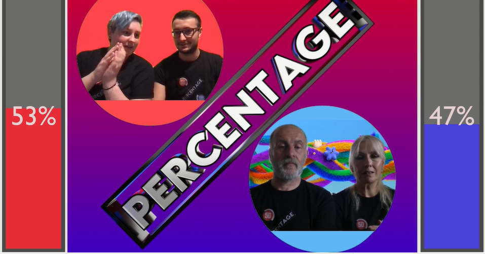Still from Percentage gameshow in middle of the show