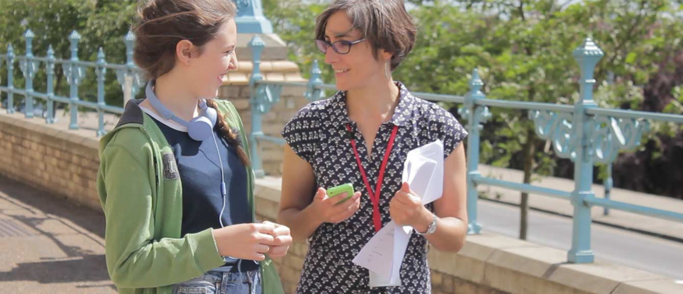 Helen Bendon with a user during testing of the Time Stands Still app