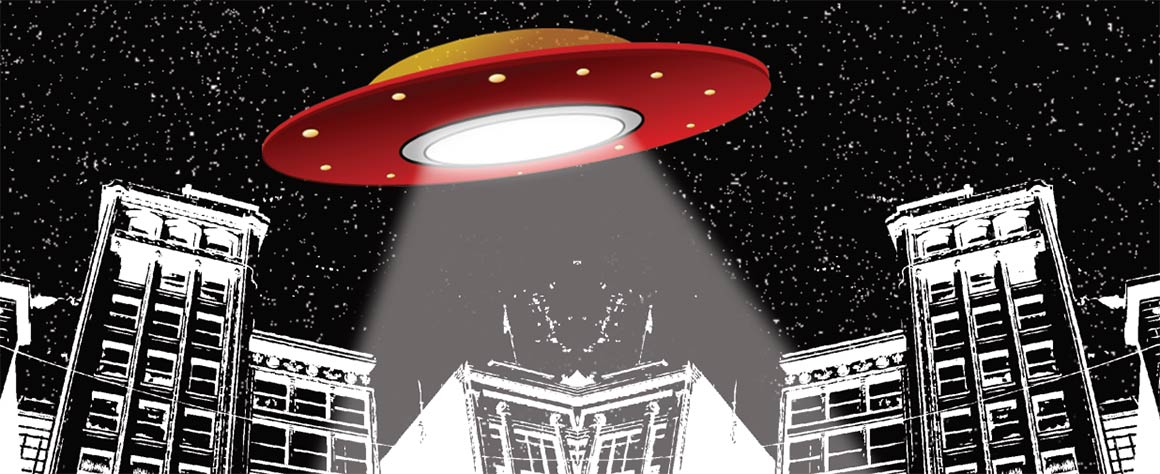 A flying saucer casts its beam over a city in the future
