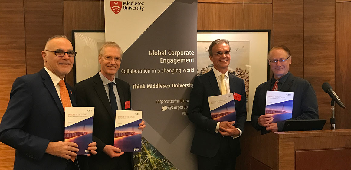Delegates from Middlesex University and the CBI launch the report in Hong Kong