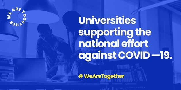 "We Are Together logo, reading: ""Universities supporting the national effort against COVID-19 #WeAreTogether"""