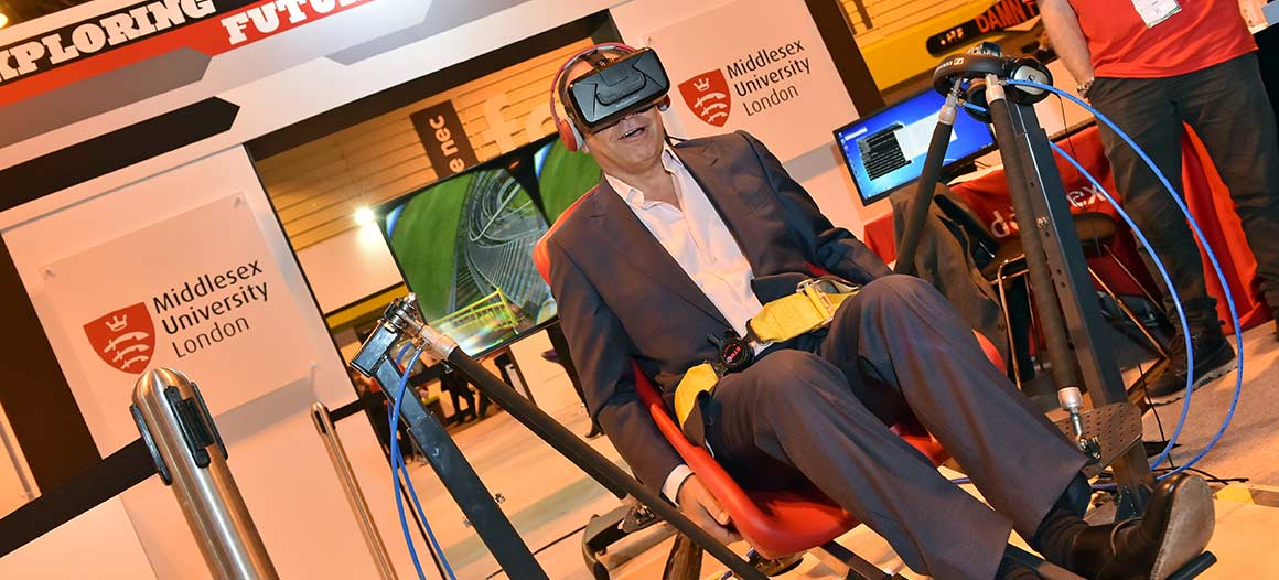 Theo Paphitis rides the MDX Loco virtual reality roller-coaster