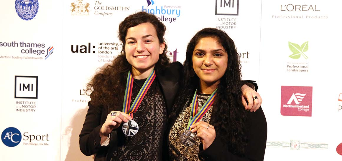 BEng Mechatronics students Meliha Beglerovic and Mehnaz Mahaboob with their WorldSkills medals